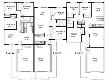 Plan 013m 0003 find unique house plans home plans and for Triplex floor plans