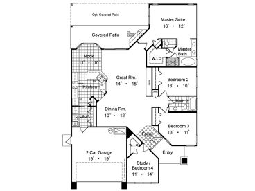 Angled Ranch Home. Angled. Home Plan And House Design Ideas