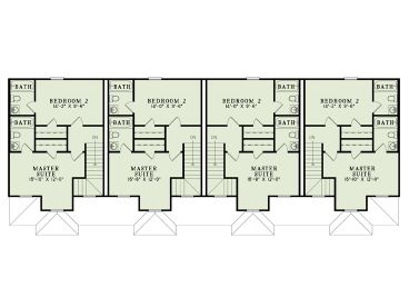 Apartment House Plans | 4 Living Units, Two-Story Design # 025M-0077 ...