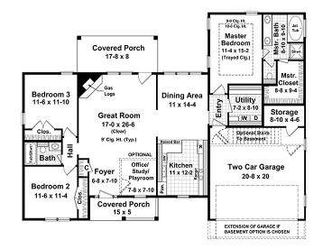 Ranch House Plans | Traditional Ranch Home Plan with Split ...
