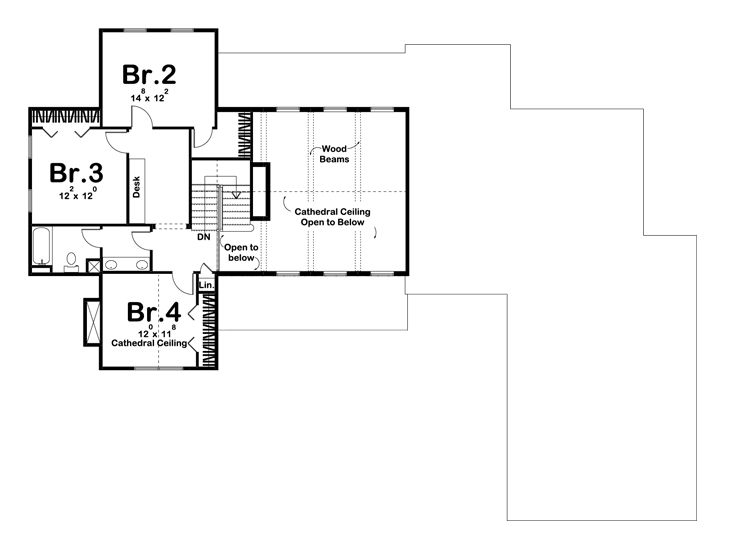 2nd Floor Plan, 050H-0136