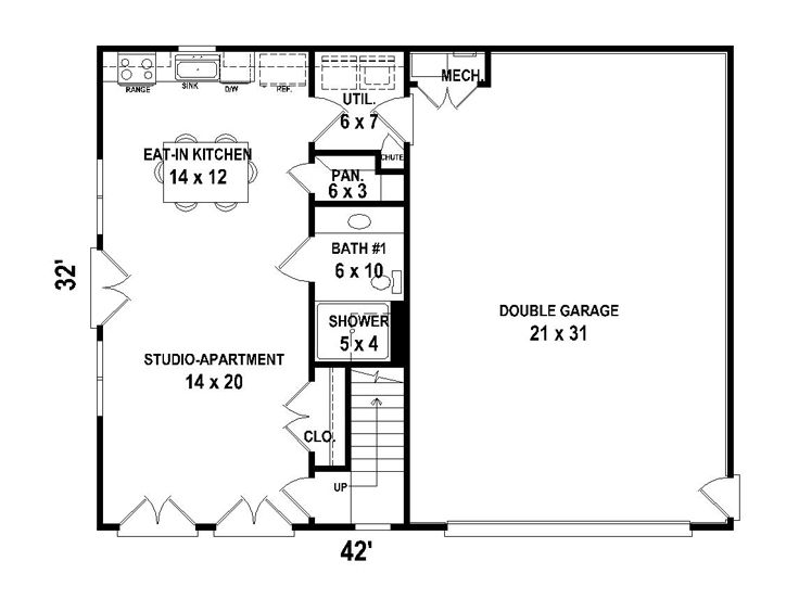 Garage with living quarters floor plans gurus floor for Live in garage plans