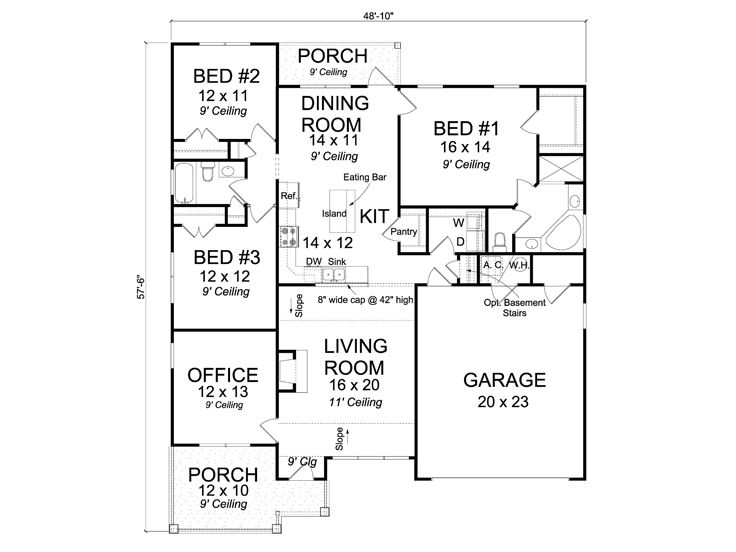 Family home plans affordable family home plan with split for Affordable house plans for large families
