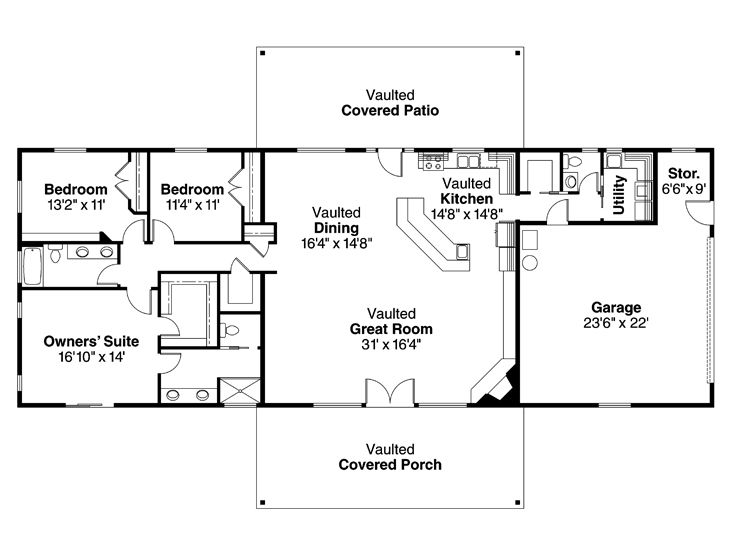 Ranch home plans rustic ranch house plan 051h 0205 at for House plans with shop attached