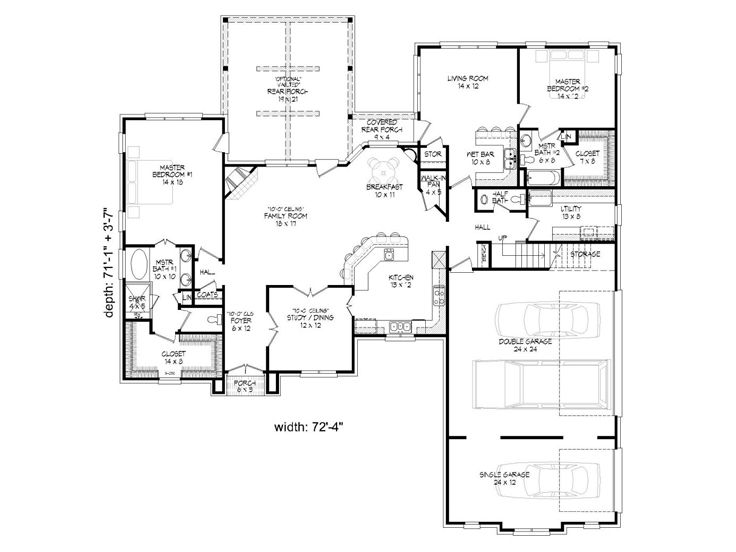 1st Floor Plan, 062H-0075