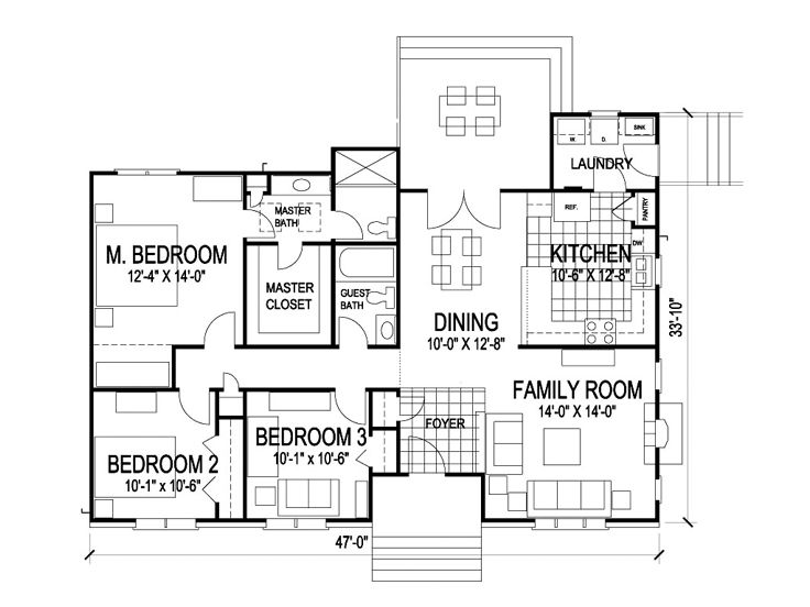 Small house plans small and affordable ranch home plan for Affordable ranch home plans