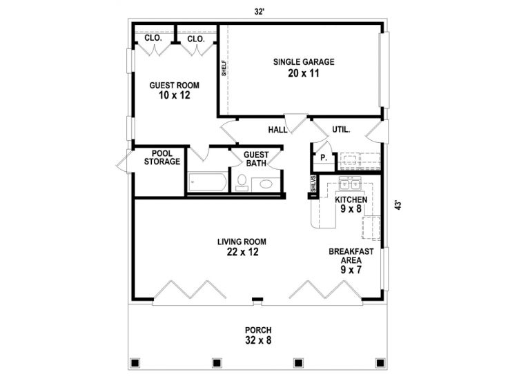 Garage Apartment Plans | 1-Car Garage Apartment Plan on One Level ...
