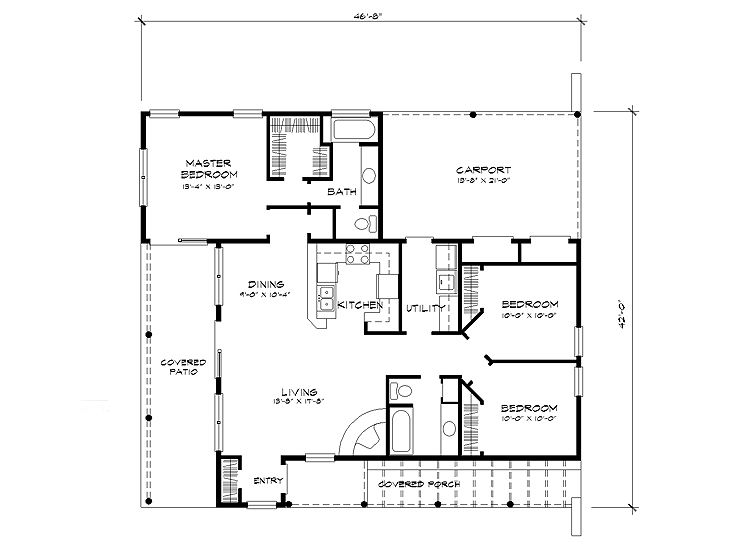 Adobe house plans small southwestern adobe home plan for Small adobe house plans