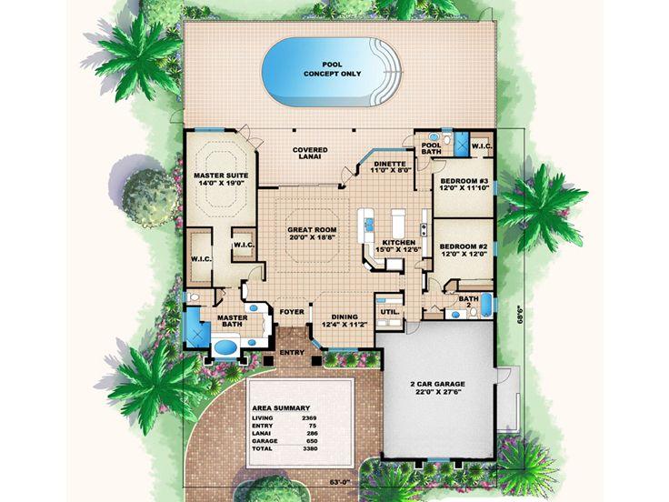 Florida house plans one story florida home plan 037h for Florida blueprint