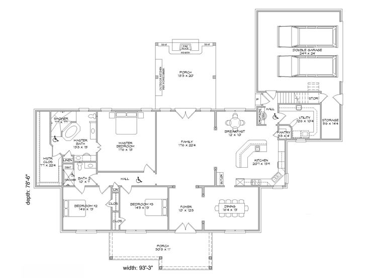 Handicap accessible house plans 3 bedroom ranch home for Handicap accessible house plans