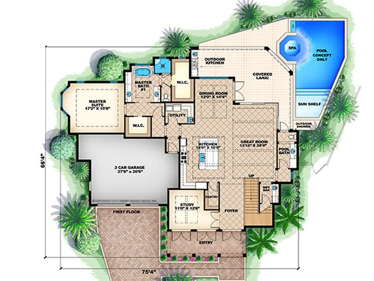 Two story home plans florida style 2 story house plan for Two story florida house plans