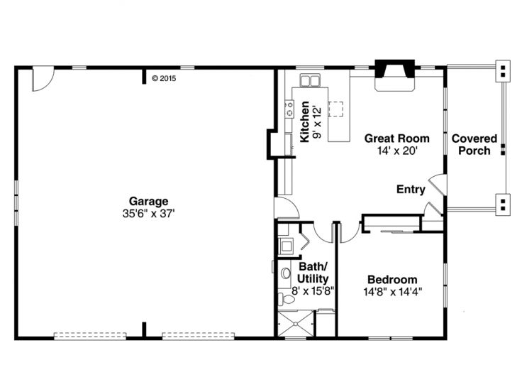 Garage apartment plans 1 story garage apartment plan for 1 5 car garage plans