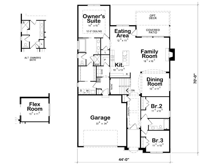 Title Ranch Home Plans One Story House Plan With Split