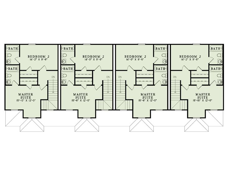 Apartment house plans 4 living units two story design for Two unit apartment plans