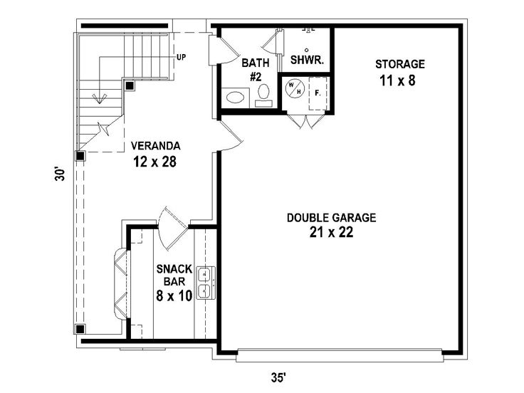 Garage Apartment Plans | 2-Car Carriage House with Outdoor Snack ...