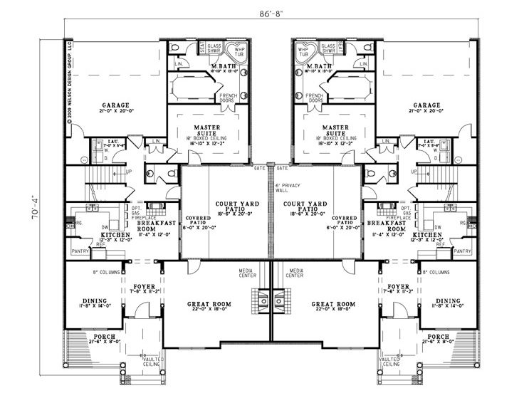 Duplex House Plans Two Story Duplex Home Plan 025m