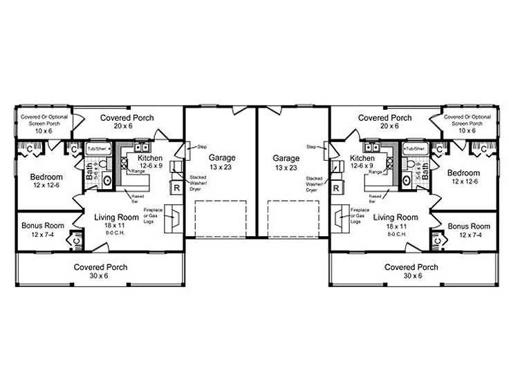 Multi family home plans one story duplex house plan for Multi family house plans