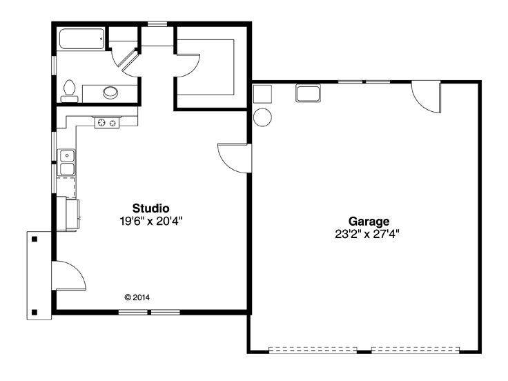 Garage Plan With Flex Space Two Car Garage Plan With