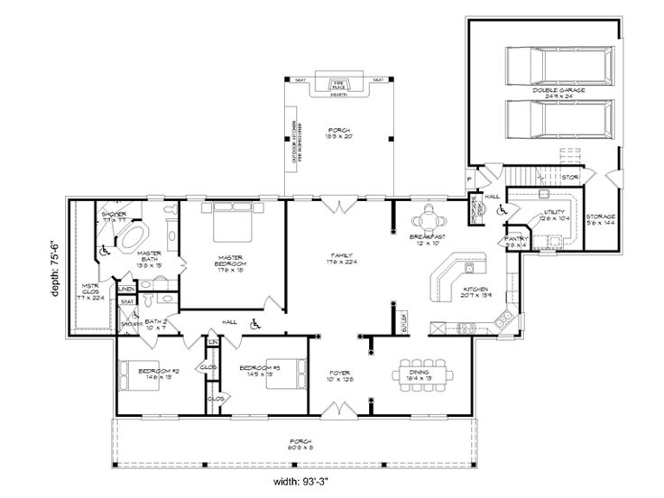 Handicap accessible home plans 3 bedroom one story house for Handicapped accessible house plans