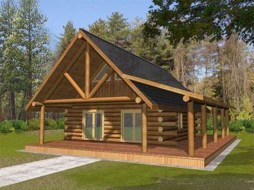 Log Cabin Home Plan, 012L-0047