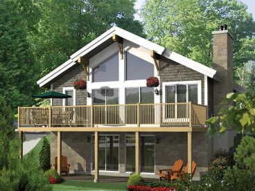Waterfront House Plan, Rear, 072H-0183
