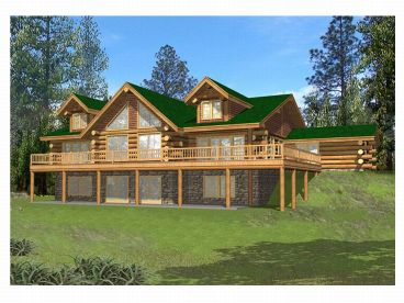 Log House Plan, Rear, 012L-0044