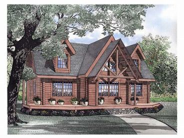 Log House Plan, 025L-0054