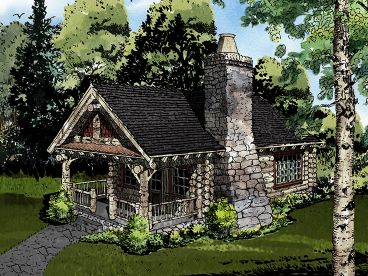 Log Cabin Home Plan, 066L 0002