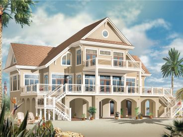 Coastal House Plan, 027H-0392