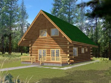 Vacation Log House Plan, 012L-0041