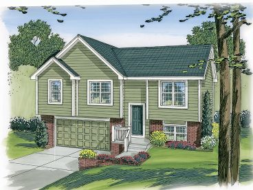 Split-Level House Plan, 050H-0003