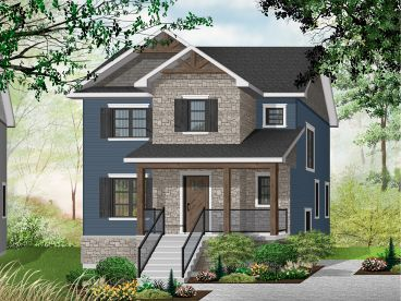 Narrow Lot House Plan, 027H-0485