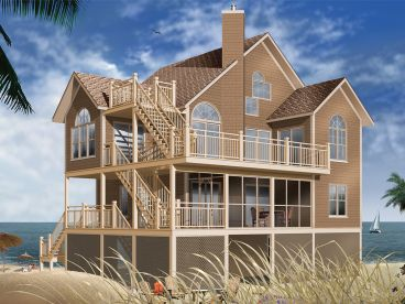 Beach House Plan, 027H-0399