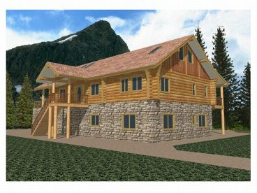 Log Home, Front/Right, 012L-0014