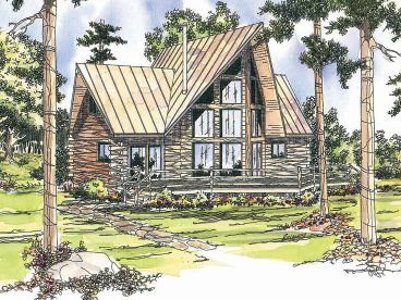 A-Frame Log House Plan, 051L-0002