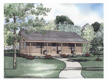 Log Cabin Home Plan, 025L-0015