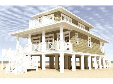Beach House Plans   Narrow Lot Beach House Plan # 052H-0092 at ...