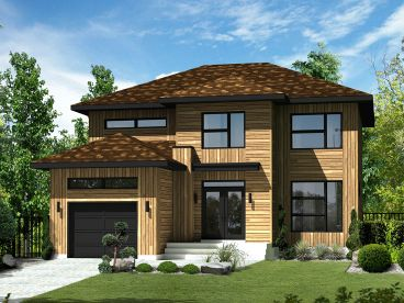 Modern Narrow Lot House Plan, 072H-0162