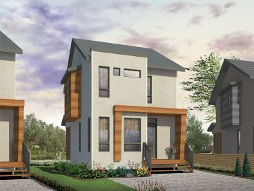 Modern Narrow Lot House Plan, 027H-0401