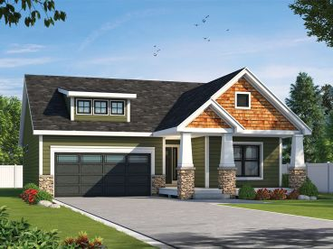 Bungalow House Plan, 031H-0464