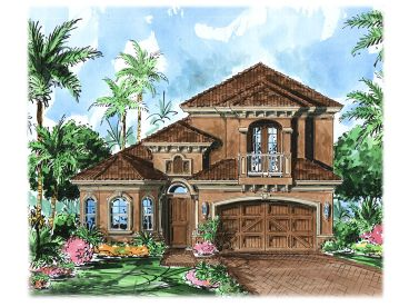 2-Story Stucco Home Plan, 037H-0102