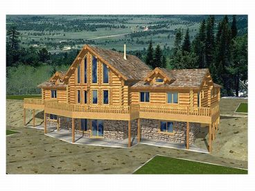Log House Plan, Rear, 012L-0027