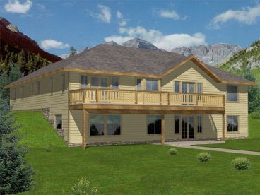 Hillside House Plan, Rear, 012H-0049