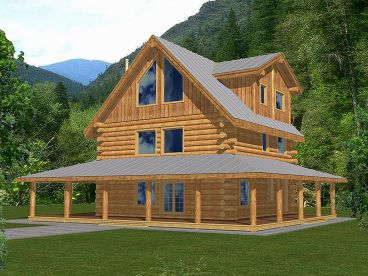 Log Home Plan, 012L-0062
