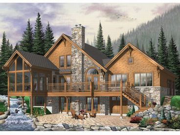 Waterfront Home Plan, Rear View, 027H-0109