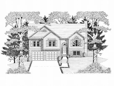 Split-Level House Plan, 019H-0141