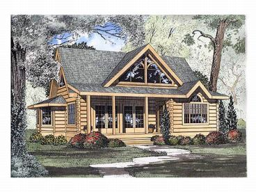 Narrow Lot Log Home, 025L-0005