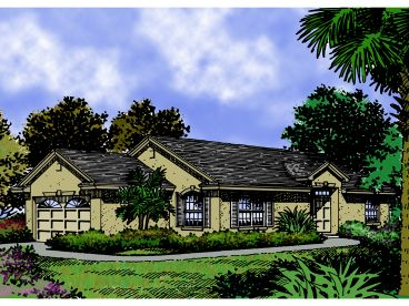 Stucco House Plan, 043H-0013