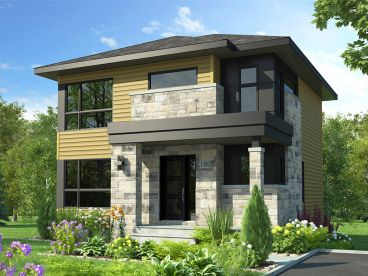 Narrow Two-Story House Plan, 027H-0486