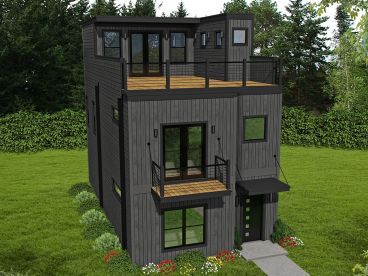 Narrow Modern House Plan, 062H-0199
